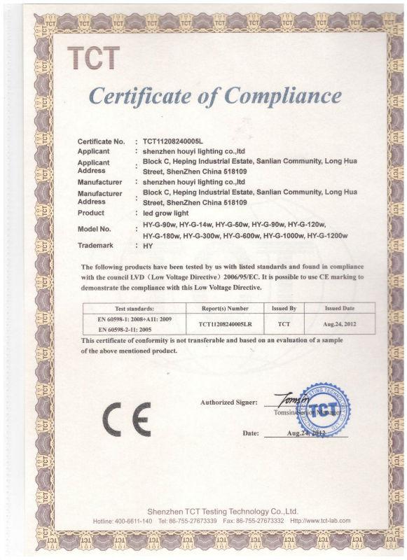 厚屹节能LEDqy288千赢国际灯产品CE认证
